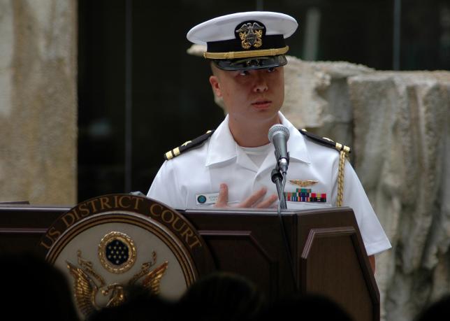Edward Lin at a 2008 naturalization ceremony in Hawaii. REUTERS/U.S. Navy/Sarah Murphy